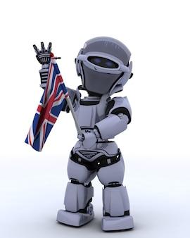 Robot met vlag van het verenigd koninkrijk