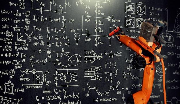 Robotarm ai die wiskunde analyseert voor gemechaniseerde probleemoplossing in de industrie