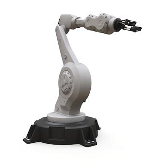 Robotarm voor elk werk in een fabriek of productie. mechatronische apparatuur voor complexe taken. 3d-weergave