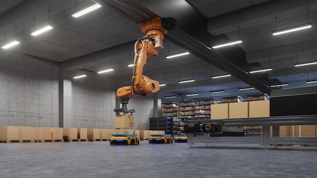 Robotarm voor verpakken bij het produceren en onderhouden van logistieke systemen met behulp van automated guided vehicle (agv).