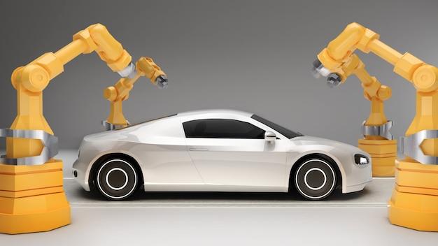 Robotarmen in de industrie voor de productie van elektrische voertuigentechnologie voor de productie van elektrische voertuigen