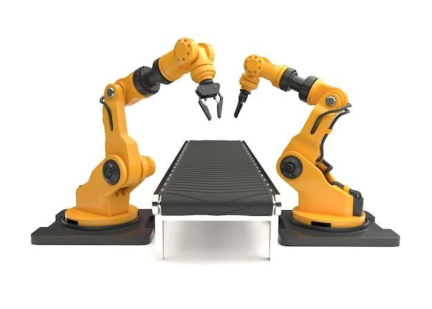 Robotarmen met lege transportband