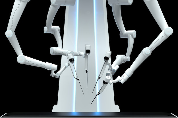 Robotchirurg, robotapparatuur, manipulatoren geïsoleerd op een donkere muur. technologieën, toekomst van de geneeskunde, chirurgie. 3d render, 3d illustratie.