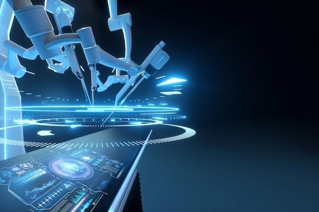 Robotchirurg, robotapparatuur. minimaal invasieve chirurgische innovatie met driedimensionaal overzicht. technologie, de toekomst van de geneeskunde, chirurg. 3d render, 3d illustratie.