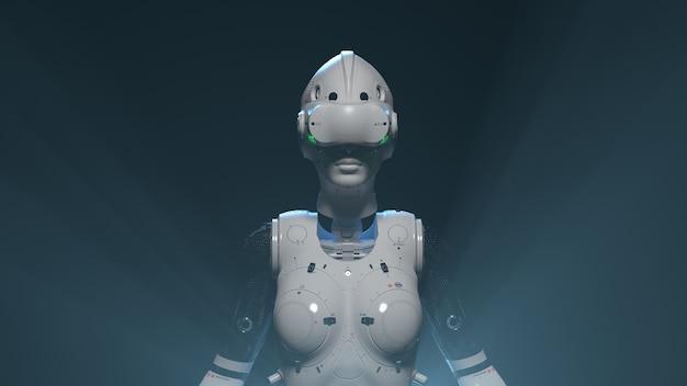 Robotgezicht met vr-brilillustratie op het thema van online vr-entertainmentgames