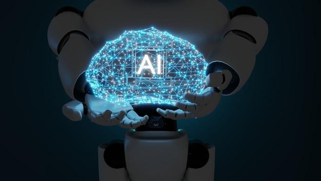 Robothand die menselijk brein houdt. 3d-rendering