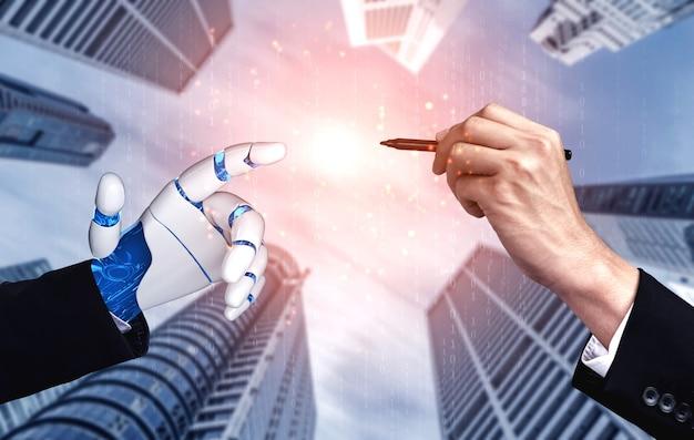 Robothand die menselijke hand aanraakt