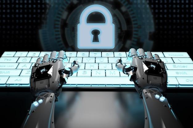 Robothand die met toetsenbord en toetsenbordvergrendeling werkt