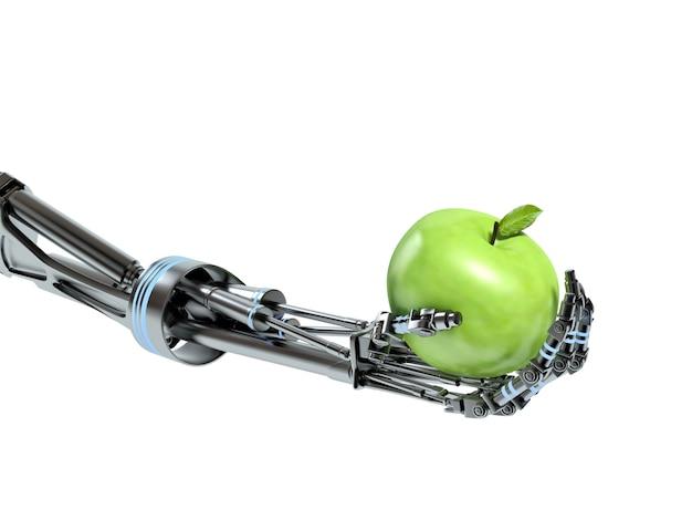 Robothand met groene geïsoleerde appel