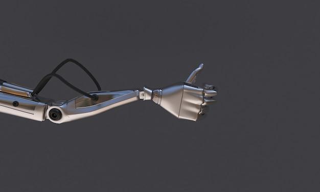Robothand op de zwarte achtergrond