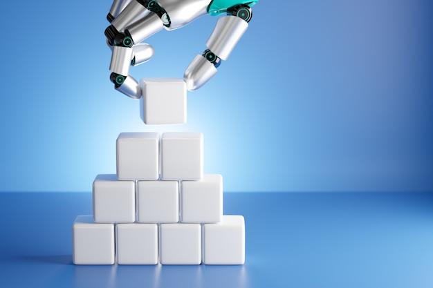 Robothandvinger die witte blokkubus rangschikt die als staptrede wordt gestapeld. technologie bedrijfsconcept. 3d illustratie weergave afbeelding.