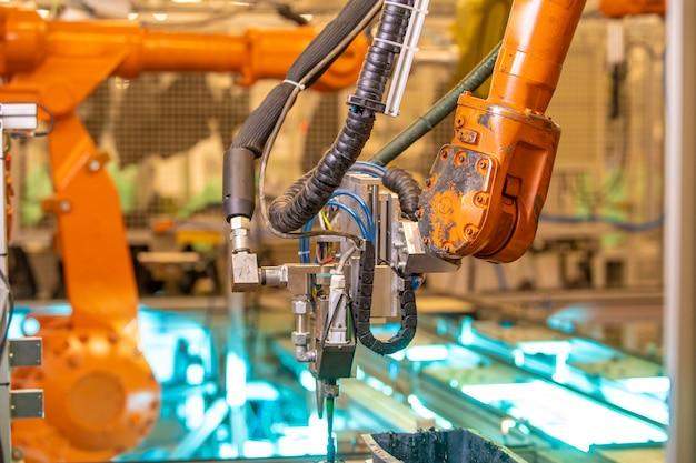 Robotisering van de moderne industrie in de fabriek. nieuwe programma-industrie 4.0