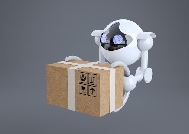 Robots, bolvormige drones overvliegen met een doos in hun klauwen
