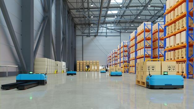 Robots sorteren op efficiënte wijze honderden pakketten per uur. 3d-weergave