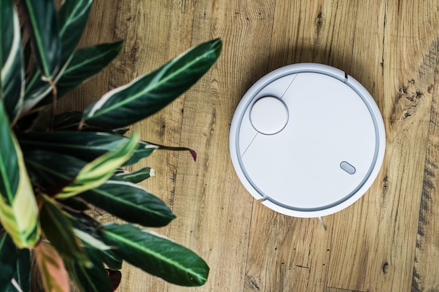 Robotstofzuiger op houten vloer. het uitzicht vanaf de top. slim huisconcept. automatische reiniging