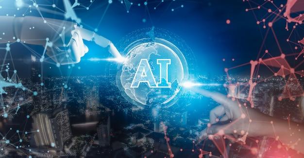 Robotvinger en menselijke hand die digitale kunstmatige intelligentieinterface gebruiken.
