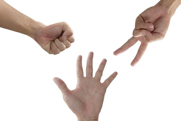 Rock paper scissors spel geïsoleerd op een witte achtergrond