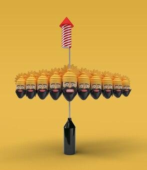 Rocket firecrackers in een pot met ravana ten heads - pengereedschap gemaakt uitknippad opgenomen in jpeg gemakkelijk te componeren.