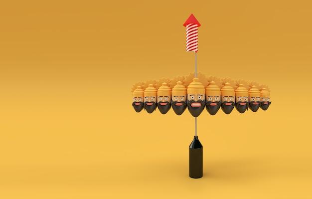 Rocket firecrackers in een pot met ravana tien hoofden 3d-rendering illustratie.