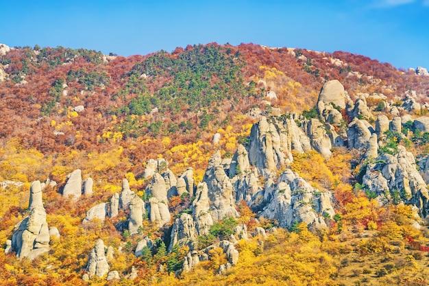 Rocky mountains met stenen blokken in de vorm van beelden met heldere kleurrijke bomen in het herfstseizoen