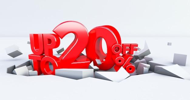 Rode 20% nummer geïsoleerd op een witte achtergrond. 20 twintig procent verkoop. black friday-idee. tot 20%. 3d render