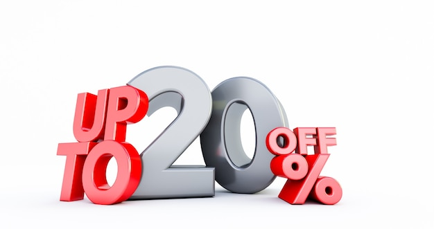 Rode 20% nummer geïsoleerd op wit. 20 twintig procent verkoop. black friday-idee. tot 20%.