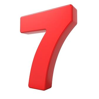 Rode 3d cijfer 7 geïsoleerd op een witte achtergrond