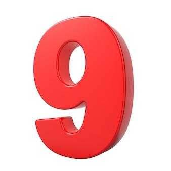 Rode 3d cijfer 9 geïsoleerd op een witte achtergrond