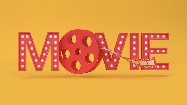 Rode 3d film type-tekst letters roll film gele achtergrond 3d-rendering film, bioscoop, entertainment.