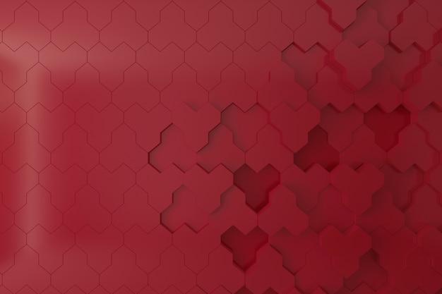 Rode 3d muur voor achtergrond, achtergrond of behang, bijenkorf vorm 3d muur.