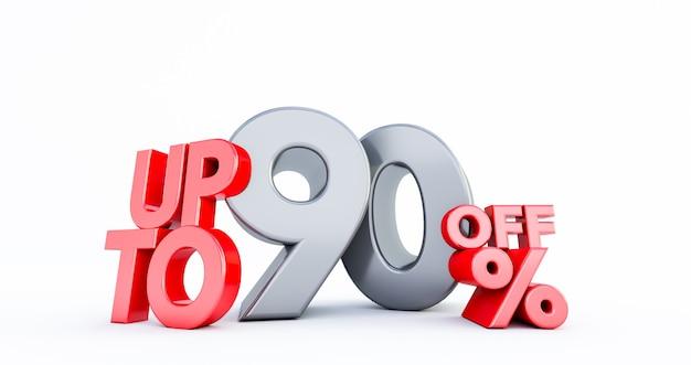 Rode 90% nummer geïsoleerd op wit. 90 negentig procent verkoop. black friday-idee. tot 90%.