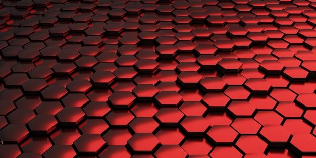 Rode abstracte achtergrond met metalen zeshoeken 3d render