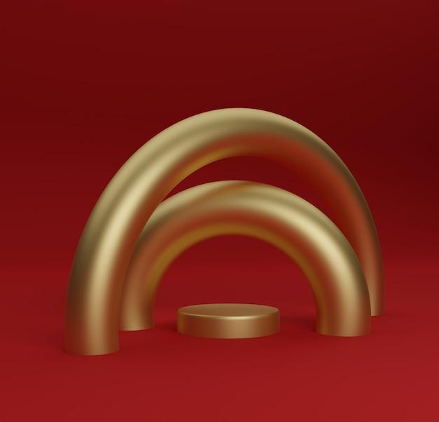 Rode achtergrond gouden ronde gerenderd podium