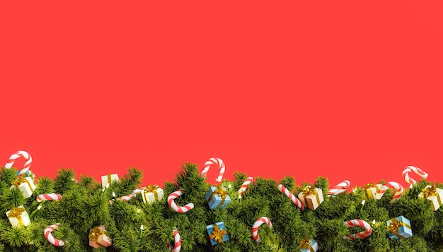 Rode achtergrond met kerstslinger