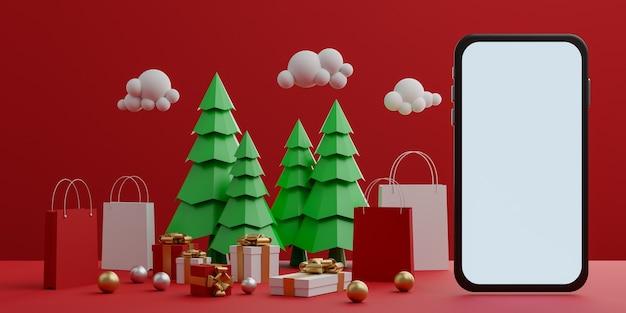 Rode achtergrond met leeg wit scherm mobiel mockup, boodschappentas, geschenkdoos en kerstbomen voor reclame. 3d-weergave.
