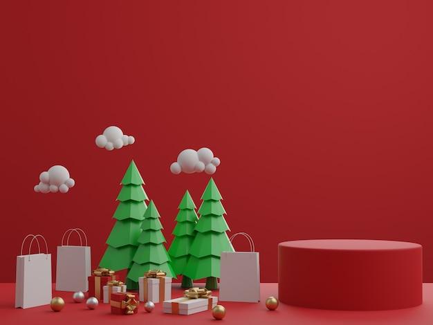 Rode achtergrond met podium, geschenkdoos en kerstbomen voor product. 3d-weergave.