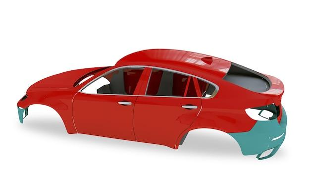 Rode achterkant carrosserie zonder wiel 3d illustratie