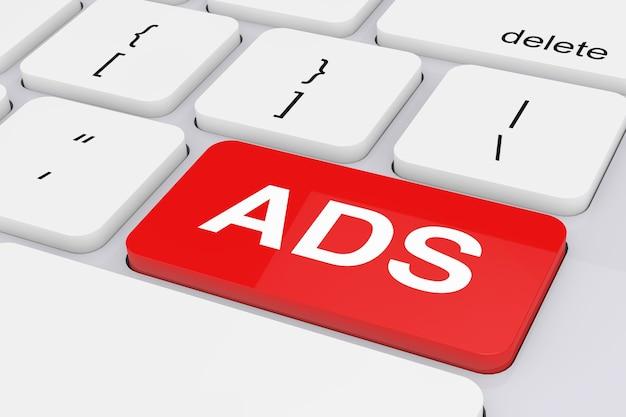 Rode advertentietoets op wit pc-toetsenbord op een witte achtergrond. 3d-rendering