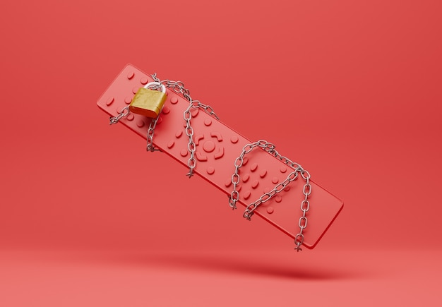Rode afstandsbediening verstrikt in een ketting met een gesloten hangslot op een rode achtergrond. 3d-weergave