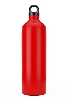 Rode aluminium fiets water sport fles mockup op een witte achtergrond. 3d-rendering
