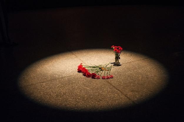 Rode anjers liggen op granieten plaat van monument voor soldaten bij 35 battary, krim