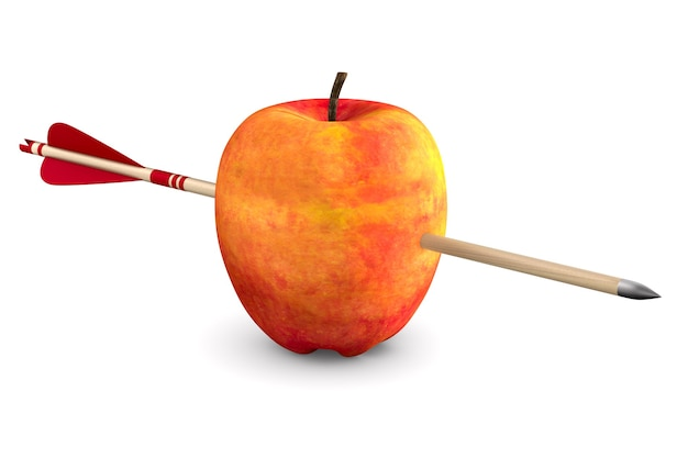 Rode appel en pijl op witte ruimte. geïsoleerde 3d-afbeelding