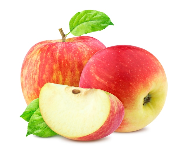 Rode appels met bladeren