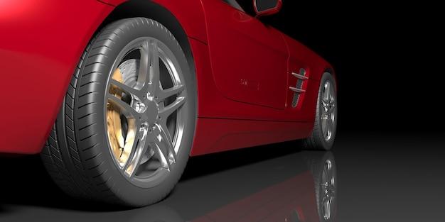 Rode auto op een zwarte achtergrond, 3d illustratie
