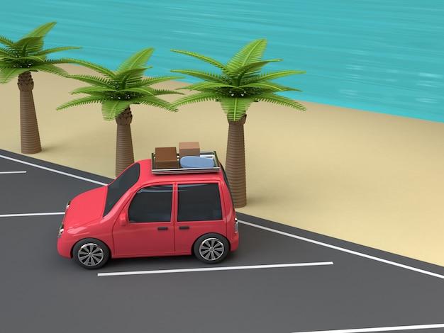 Rode auto parkeren op het strand blauwe zee kokos-palm bomen cartoon stijl 3d render reizen zomer concept