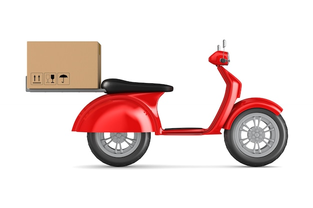 Rode autoped met ladingsdoos op witte achtergrond. geïsoleerde 3d-afbeelding