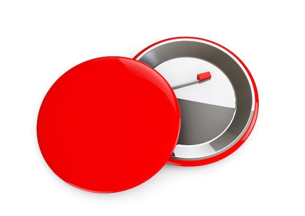 Rode badges voor- en achteraanzicht op een witte achtergrond