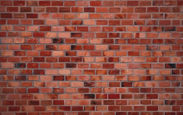 Rode bakstenen muurtextuur. oud rood vintage patroonbehang. de bakstenen muur binnenlandse de bouwarchitectuur van grunge. ruwe bakstenen muurtextuur. interieurontwerp in loftstijl. bruin en oranje muur