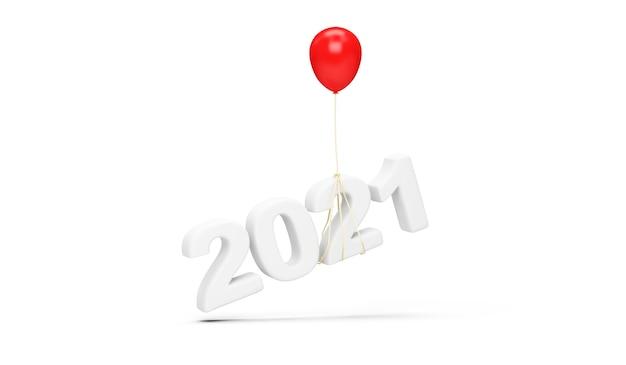 Rode ballon die het nieuwjaarssymbool van 2021 op witte achtergrond opheft
