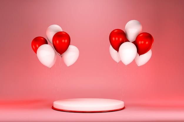 Rode ballonnen met podiumruimte voor tekst en objecten, presentatiesjabloon, feestdagen, webposter. podium met groep helium roze ballonnen. 3d-weergave